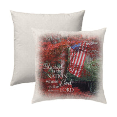 Blessed is the Nation Psalm 33.12 Flag Throw Pillow