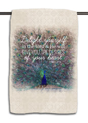 Psalm 37.4 Peacock Towel | Scripture Pillow