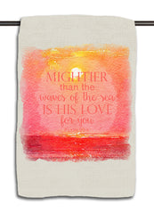 Psalm 93.4 Coral Coastal Sunset Towel
