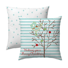 Retro Bird Christmas Pillow