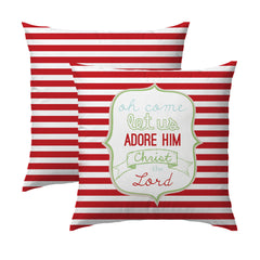 Let Us Adore Him Red Stripe Pillow