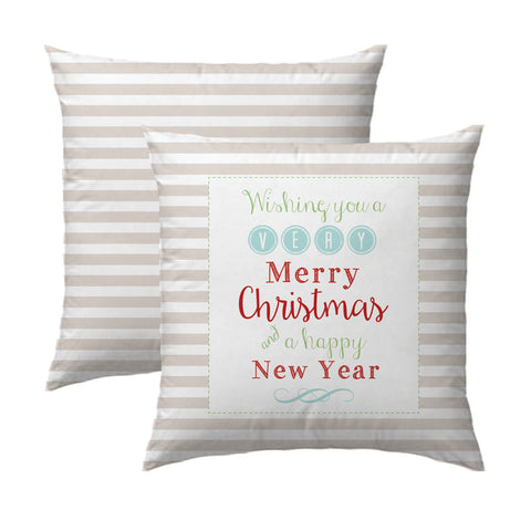 Merry Christmas and Happy New Year Tan Stripe Pillow