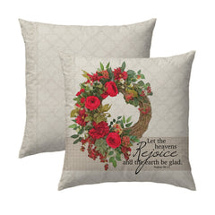 Christmas Rose Wreath - Diamond Pillow