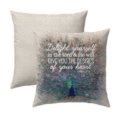 Psalm 37.4 Peacock Pillow