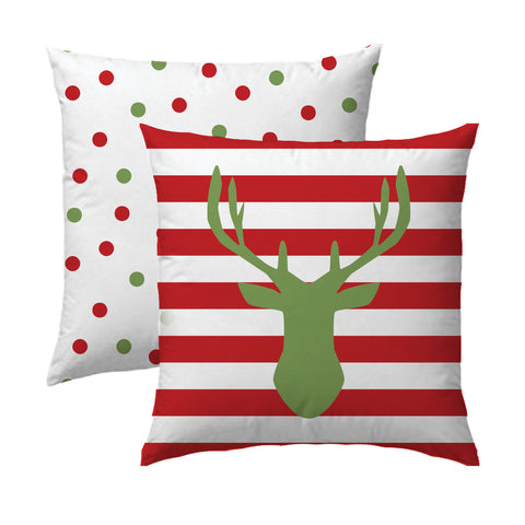 Holiday Deer Silhouette Green on Red Pillow