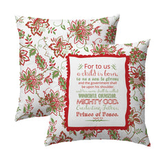 Isaiah 9.6 Holiday Jacobean Pillow