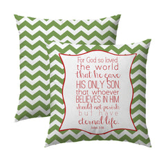 John 3.16 Green Chevron Pillow