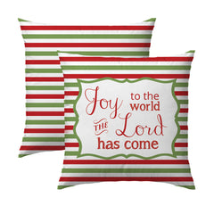 Joy to the World R&G Stripes Pillow