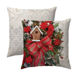 Vintage Wreath with Birdhouse Pillow