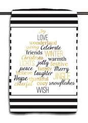 Words of Christmas Black & Gold Towel