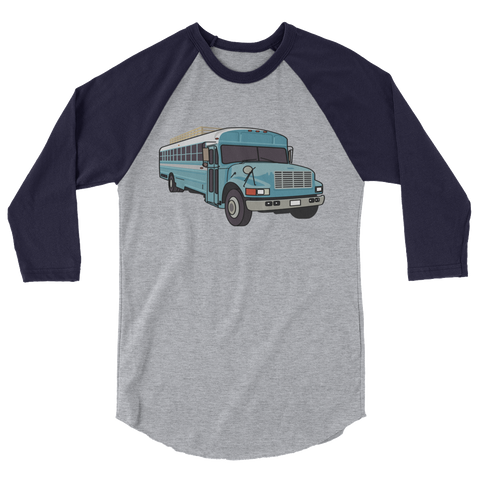 Skoolie Love Blue Bus - 3/4 Sleeve Tee