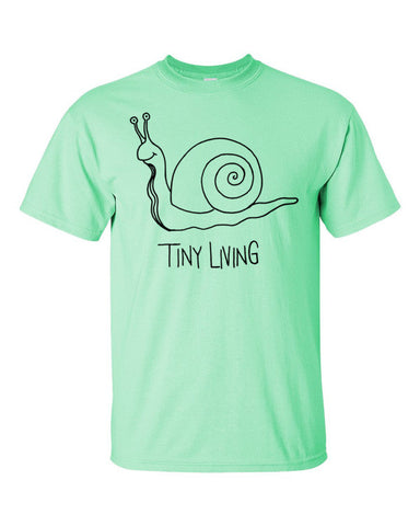 Tiny Living Snail - Black - Short sleeve t-shirt - SkoolieLove Store
