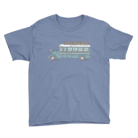Big Blue Bus - Youth Short Sleeve T-Shirt - SkoolieLove Store