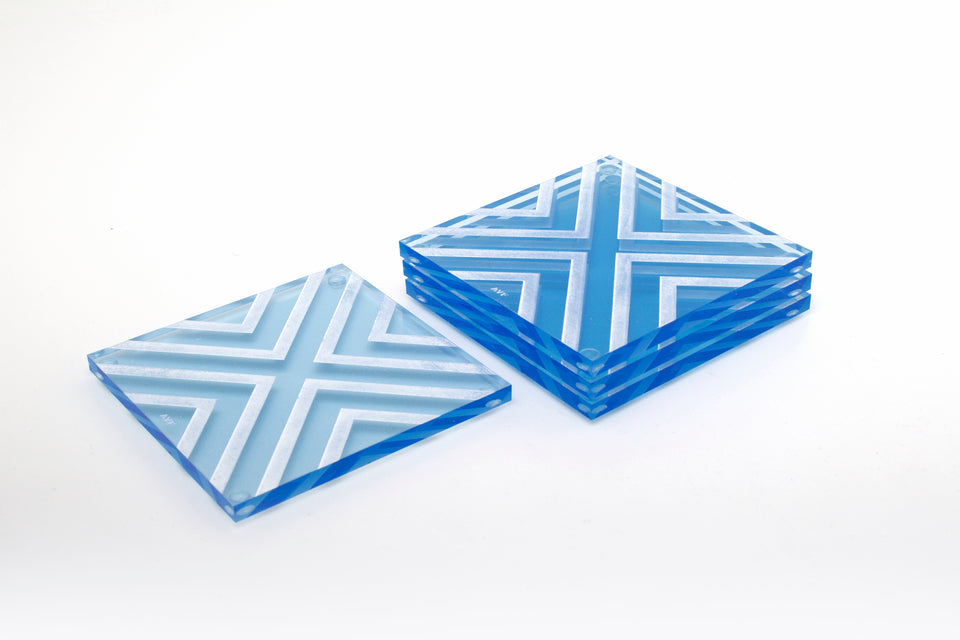 Chevron Coaster Set in Blue