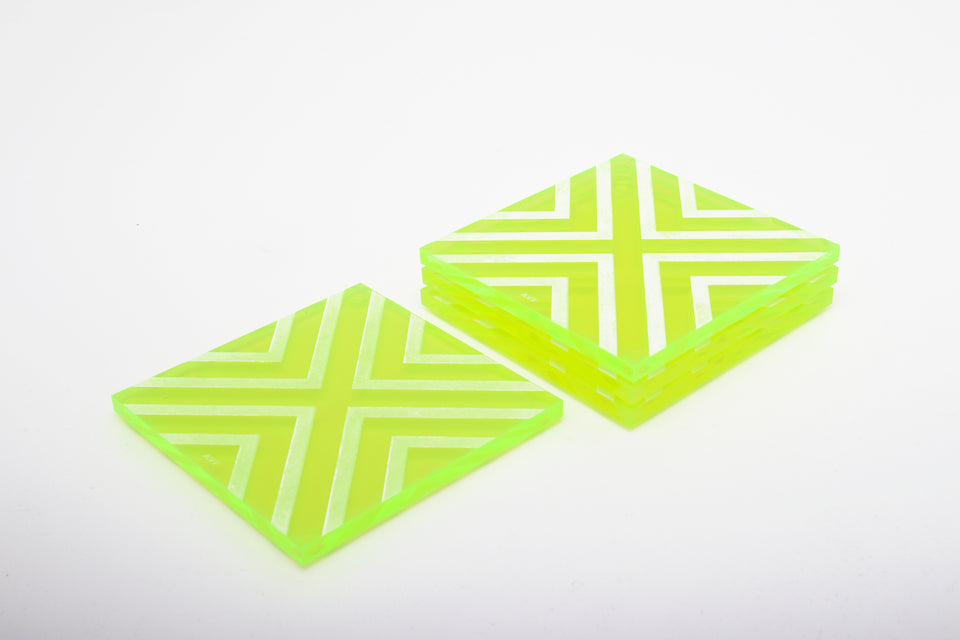Chevron Coaster Set in Green