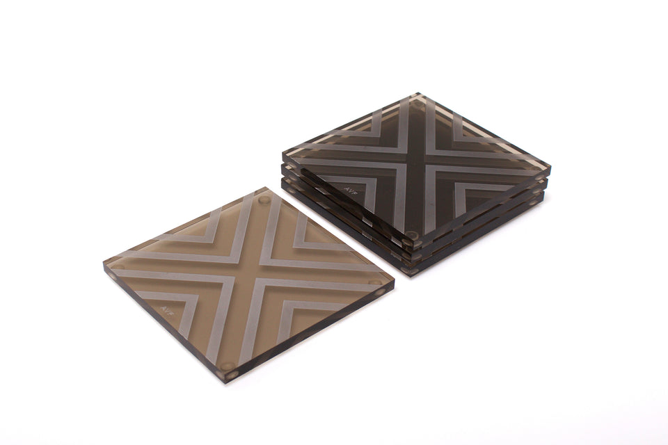 Chevron Coaster Set in Bronze