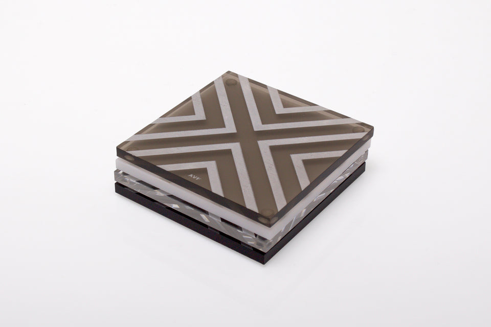 Chevron Coaster Set in Multi-Jewel
