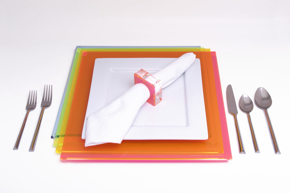 Square Placemat in Multi-Neon