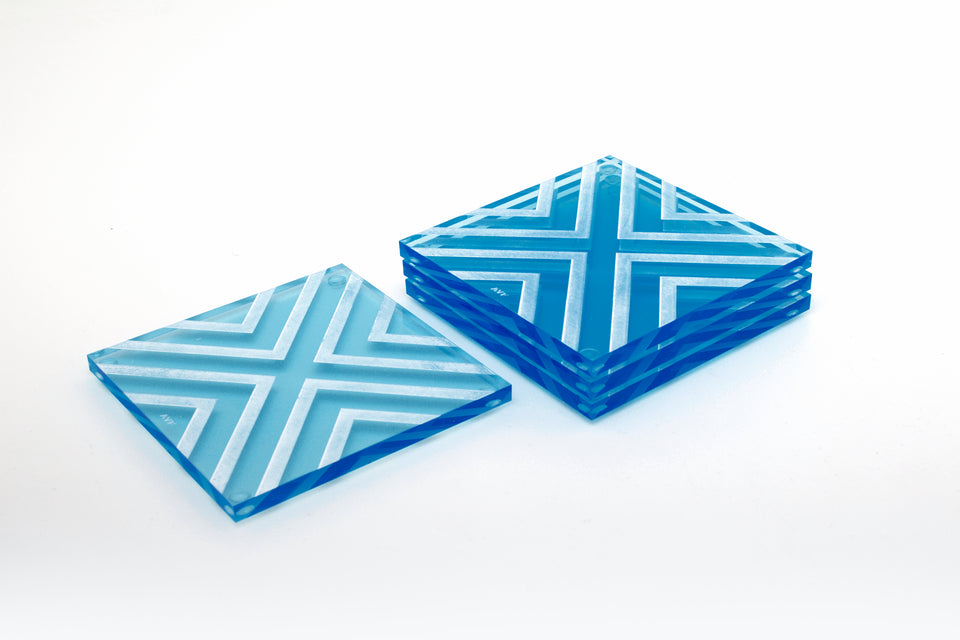 Chevron Coaster Set in Lagoon