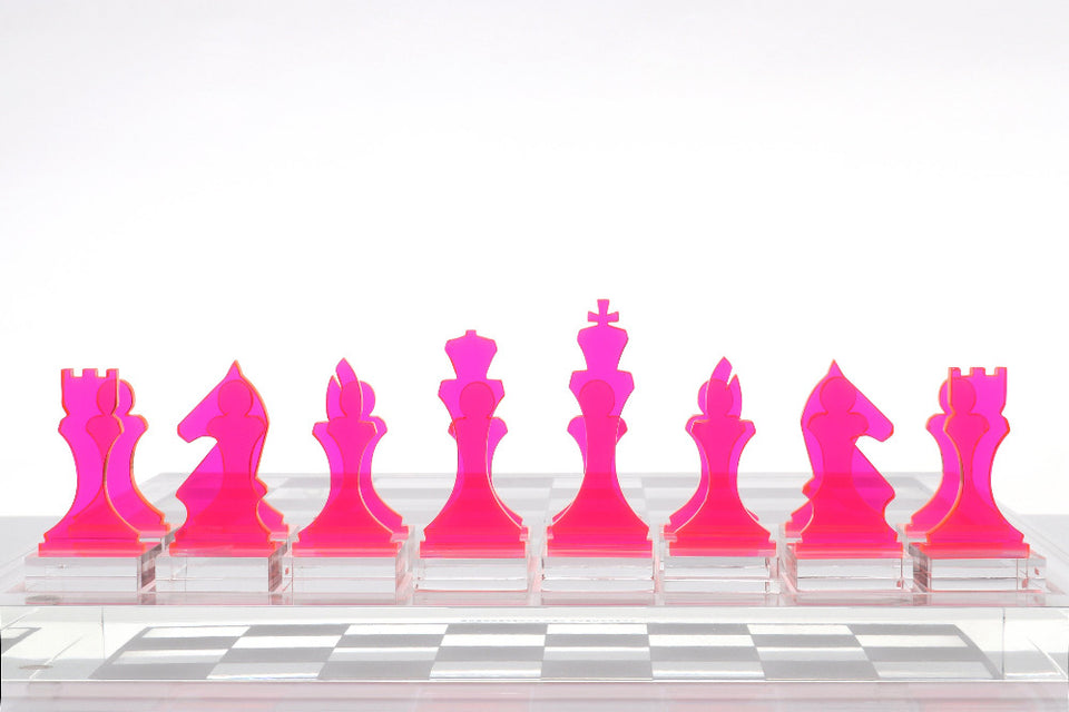 AVF Chess Piece Set of 16 Pink (Made to Order.  2-4 week lead time minimum)