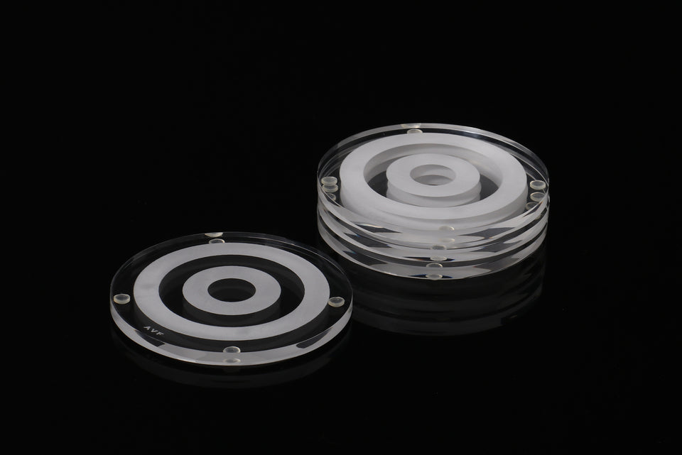 Bullseye Coaster Set in Clear
