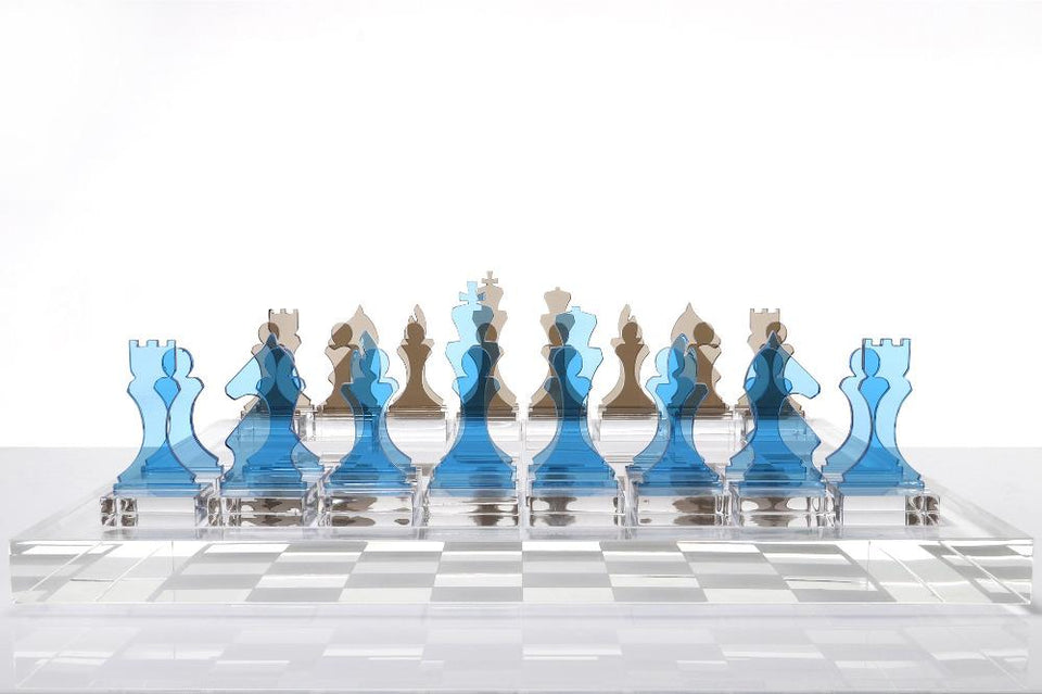 AVF Chess Piece Set of 16 Lagoon (Made to Order.  2-4 week lead time minimum)