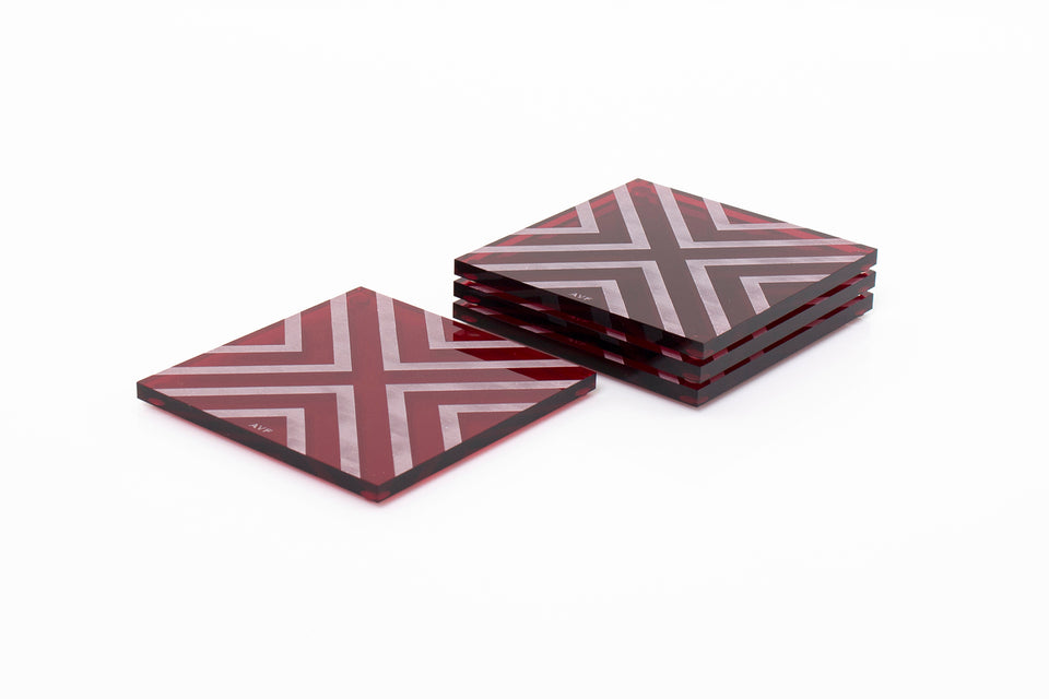 Chevron Coaster Set in Ruby