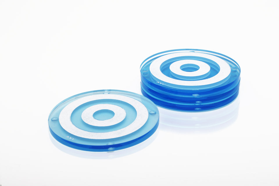 Bullseye Coaster Set in Blue