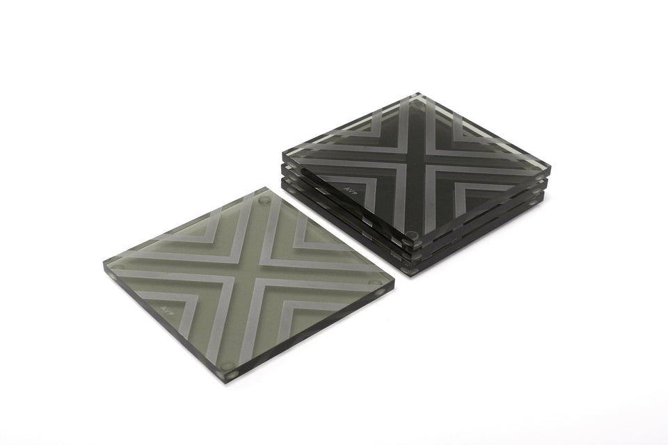 Chevron Coaster Set in Slate Grey