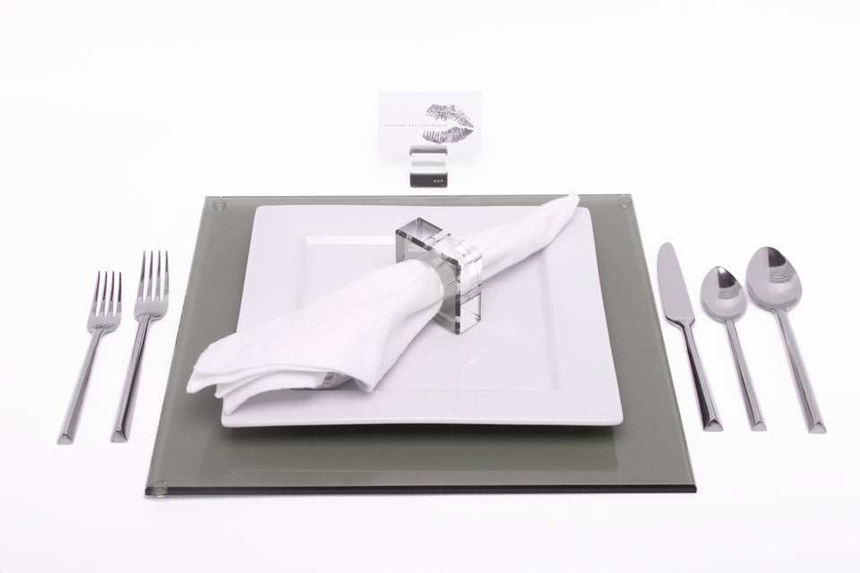 Square Placemat Set in Slate Grey