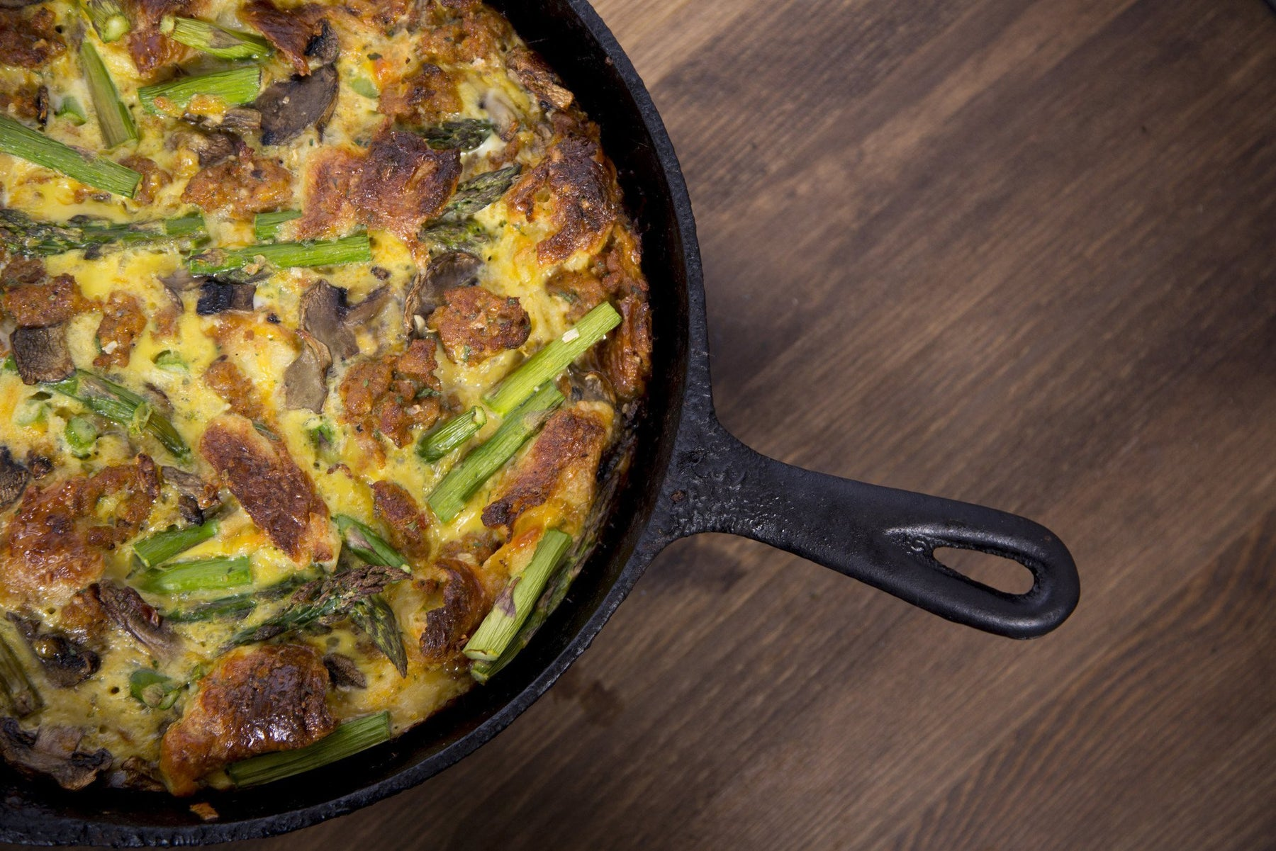 Cajun Sausage and Spring Vegetable Strata