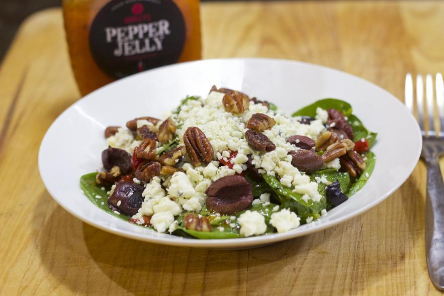 Pepper Jelly Spinach Salad
