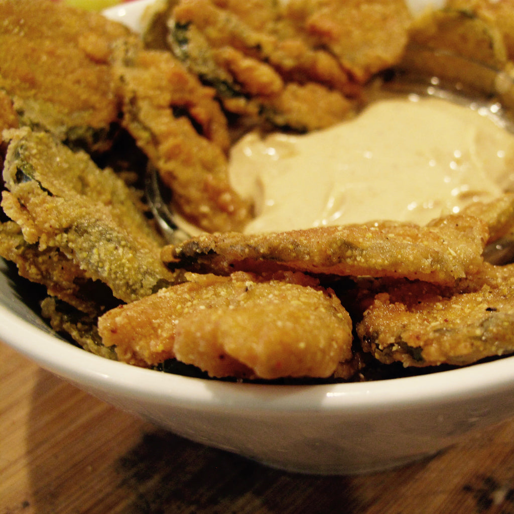 Mexi-Cajun Fried Pickles with Sauce de la Pirogue