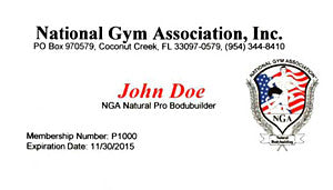 06.  NGA MEMBERSHIP REPLACEMENT CARD - NGA Pro Athletes - MALES