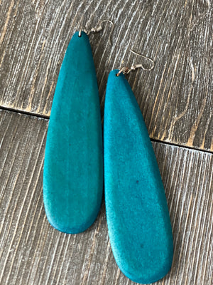 All Cried Out Wooden Teardrop Earrings