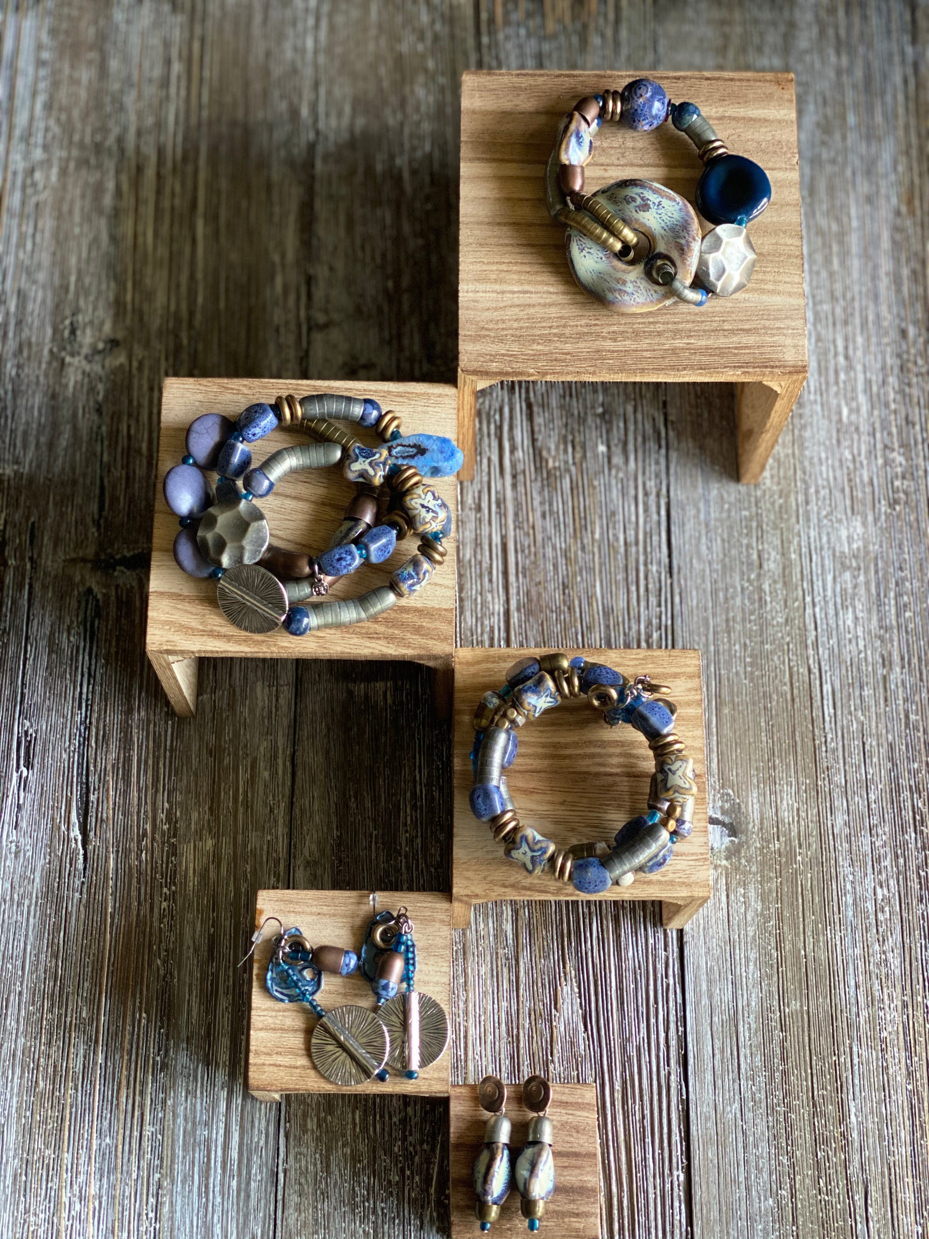 Blue Button Bracelet