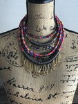 Multi layered gold colorful ethnic dangle statement necklace