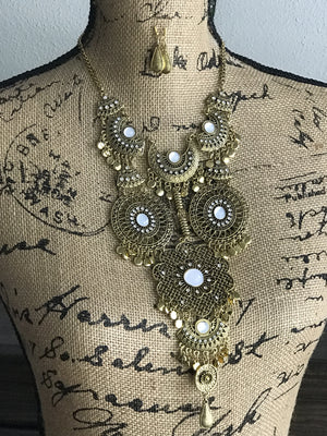 Gorgeous burnished gold bib statement necklace and earrings set