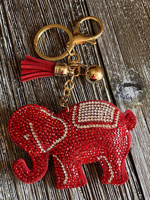Red Elephant Bling Keychain