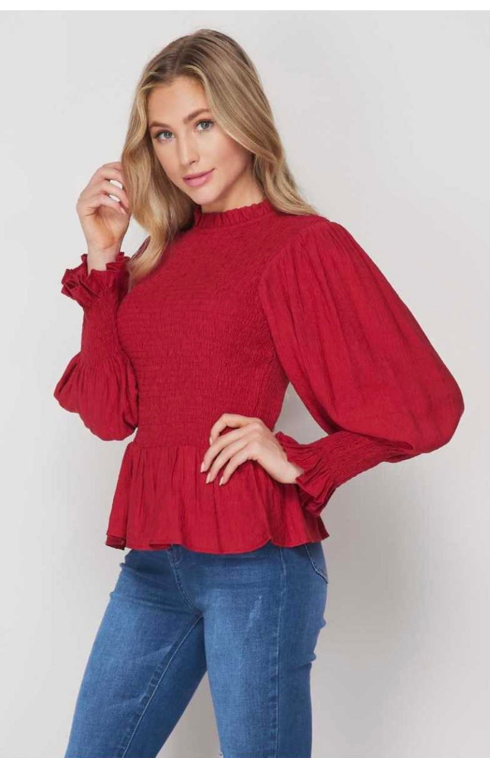 Smocked Peplum Top with Puffy Sleeves