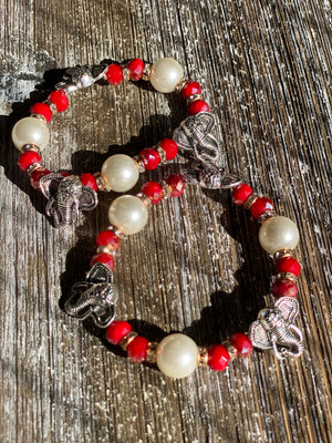 Red and White Elephant Stretch Bracelet (Pair)