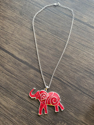 Red and Silver Contemporary Elephant