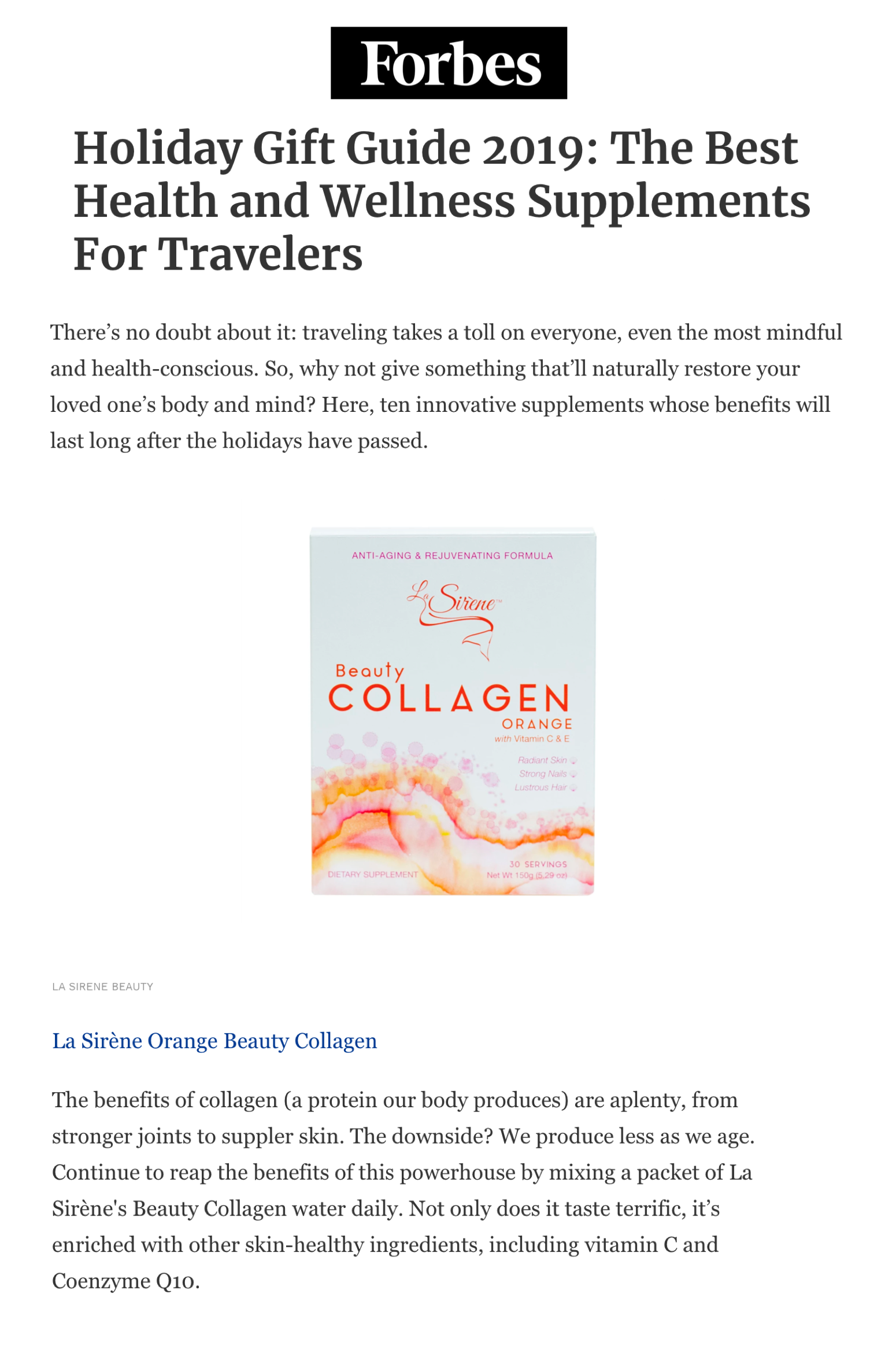 La Sirène x Forbes, Holiday Gift Guide 2019: The Best Health and Wellness Supplements For Travelers