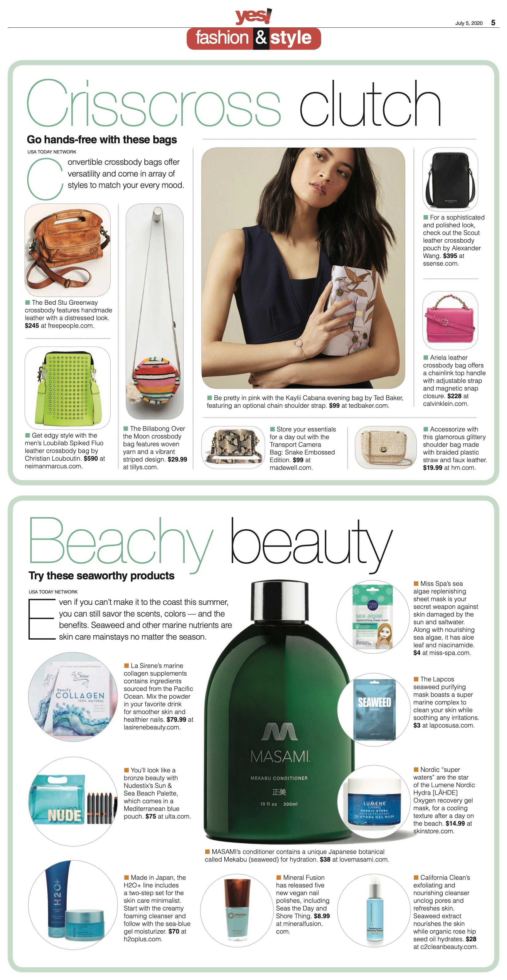 La Sirene Beauty Marine Collagen feature in Yes Magazine, Beachy Beauty - July 2020