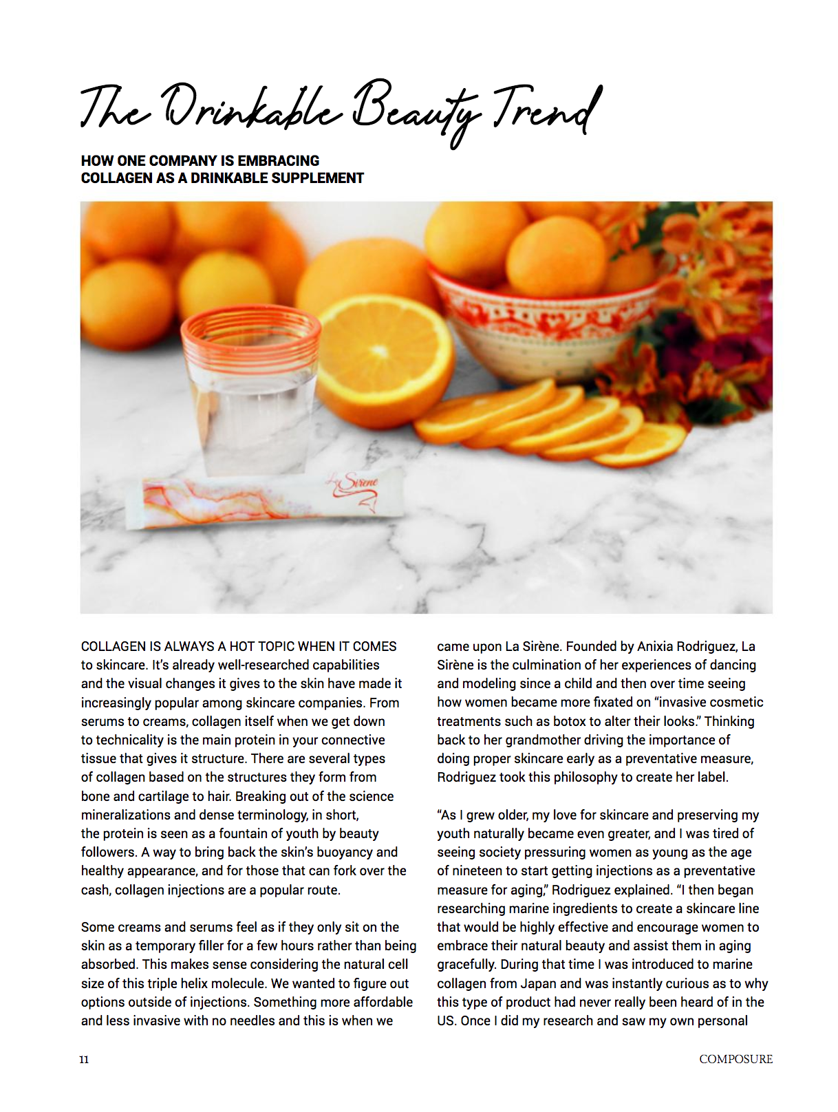 Composure Magazine, Parveen Kaur, Drinkable Beauty Trend, La Sirene Beauty Collagen, Anixia Rodriguez - April 2020