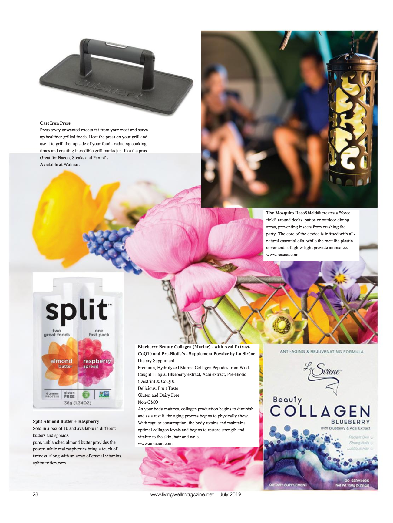 Living Well Magazine, Trends and Beyond - July 2019 - Featuring La Sirene Blueberry Beauty Collagen Supplement