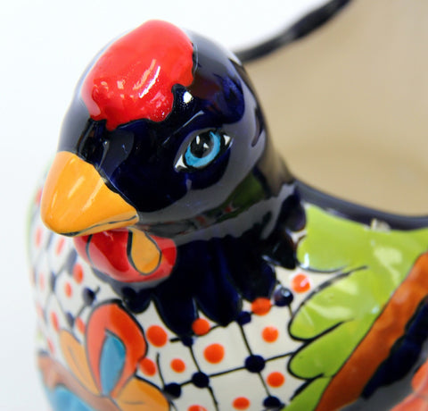 Chicken Planter - Blue Talavera Colour