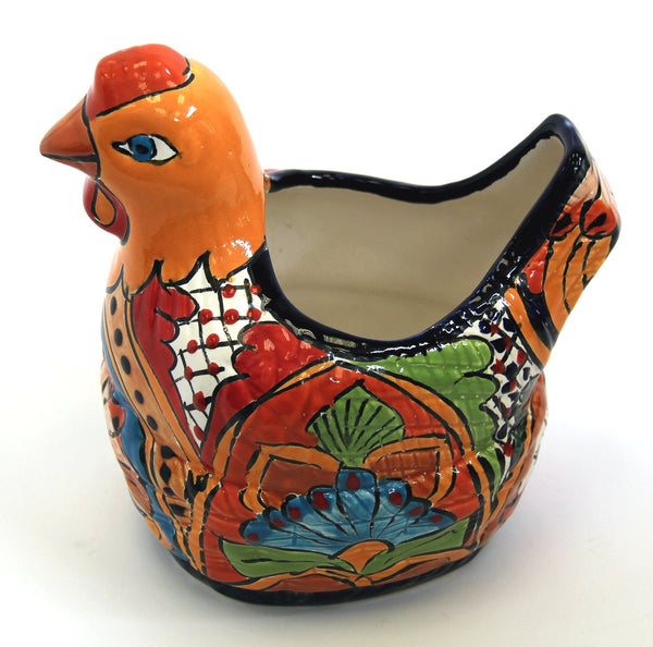 Chicken Planter - Orange Talavera Colour