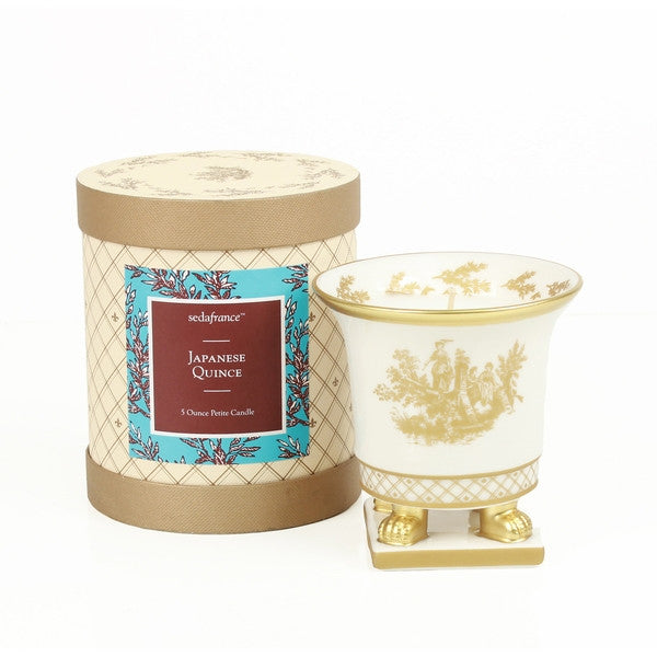 Toile Petite Ceramic White and Gold Candle - Japanese Quince