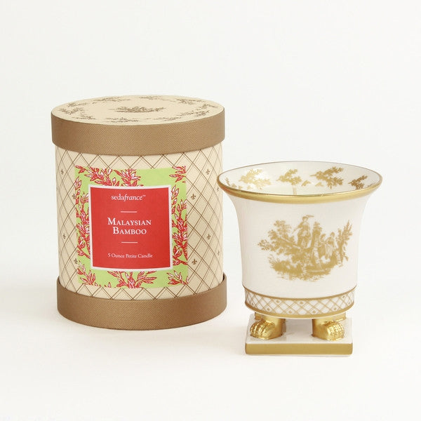 Toile Petite Ceramic White and Gold Candle - Malaysian Bamboo